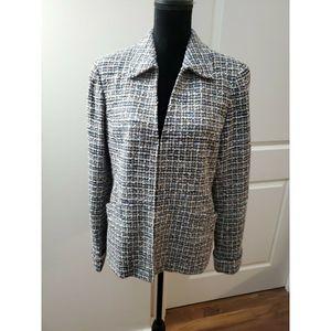 Lafayette 148 Size 12 Tweed Wool Blend Jacket Blue